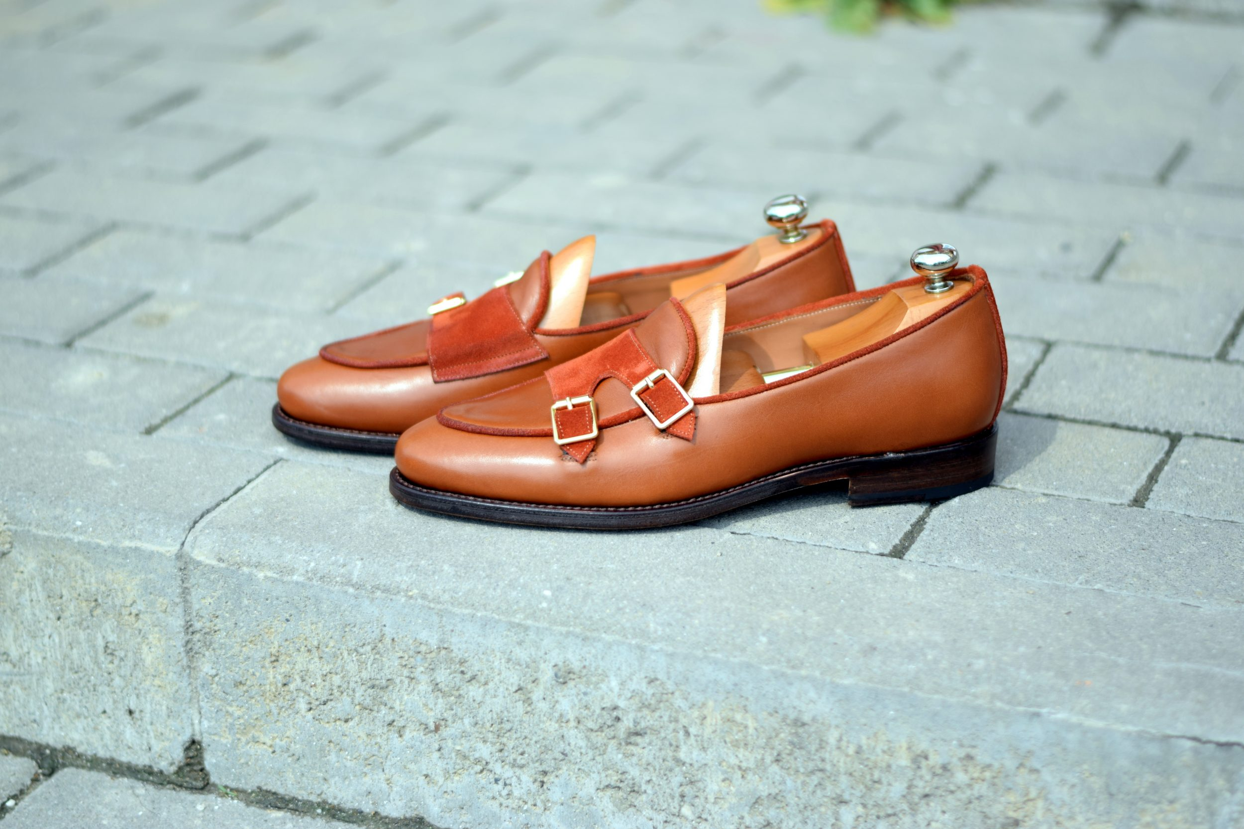 Vlad Alexandru Double Monk Loafers cognac