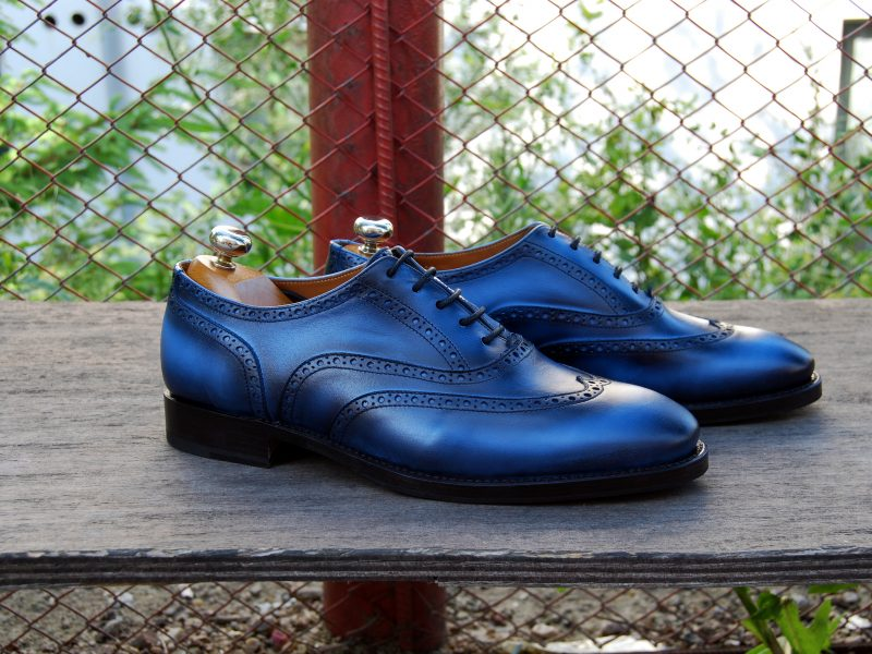 Vlad Alexandru Blue Patina Wingtip Oxford