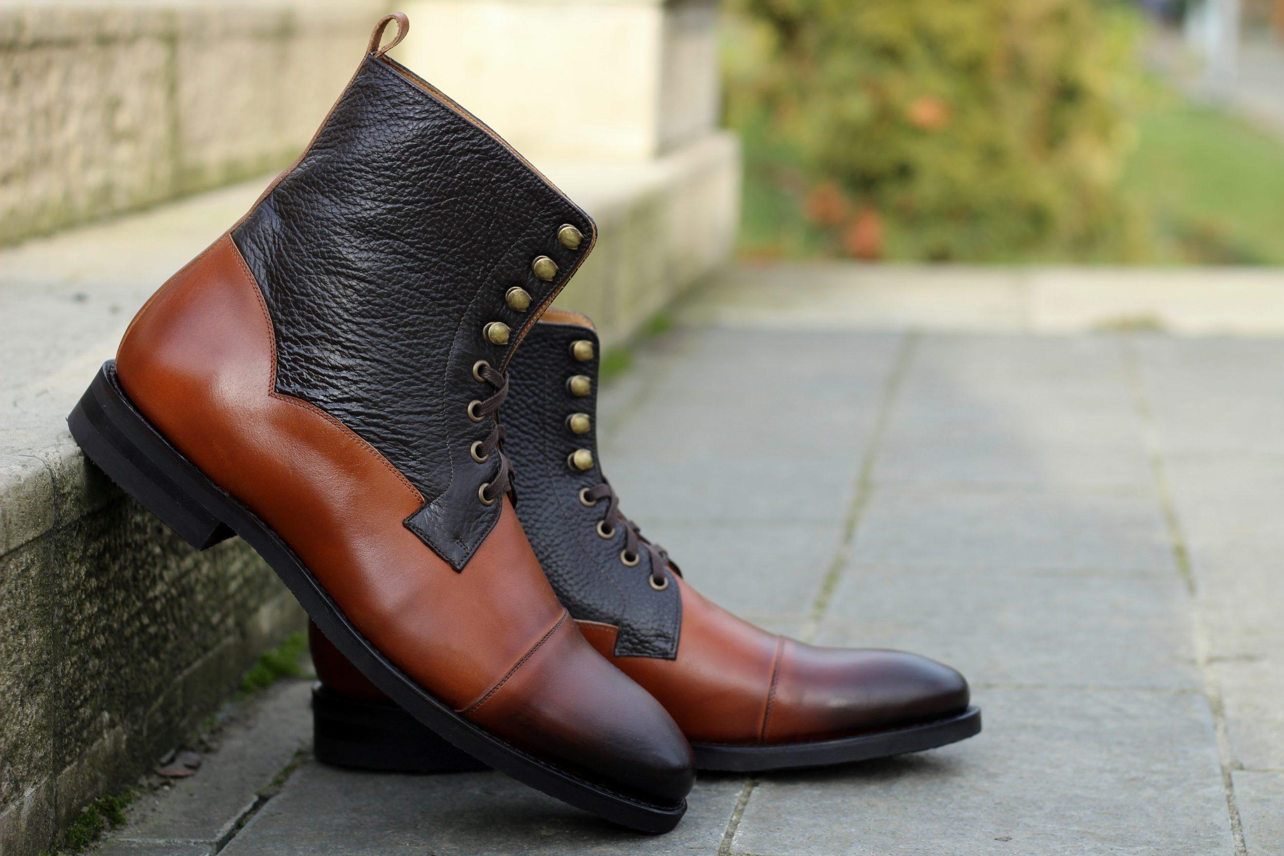 Vlad Alexandru Cap Toe Derby Boots cognac
