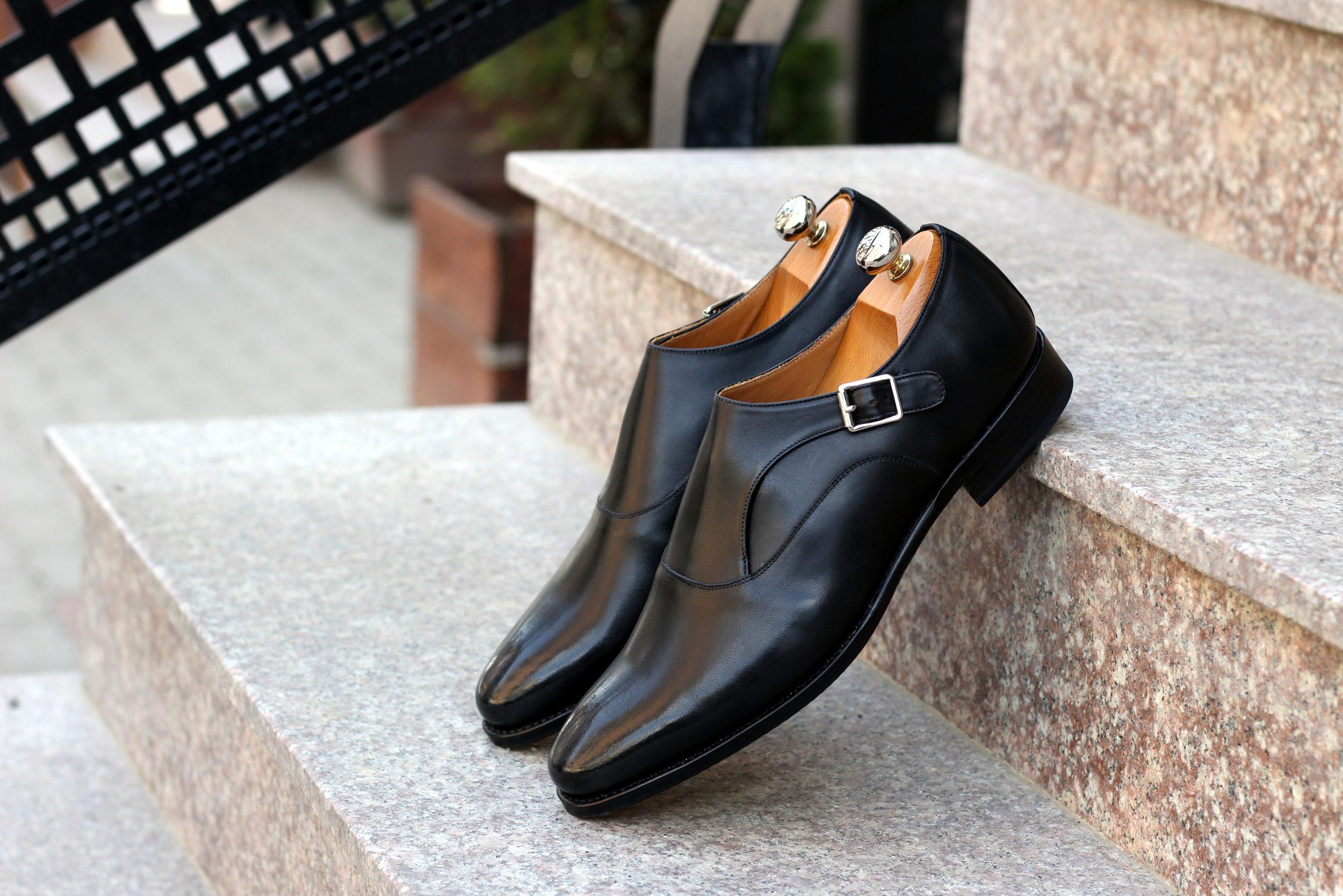 Vlad Alexandru black calf Single Monk Strap