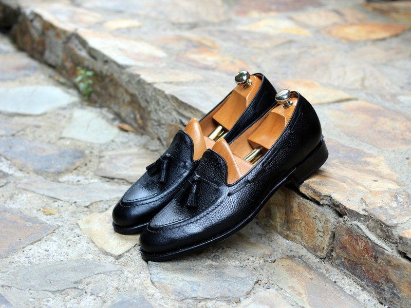 Vlad Alexandru black pebble grain Tassel Loafer