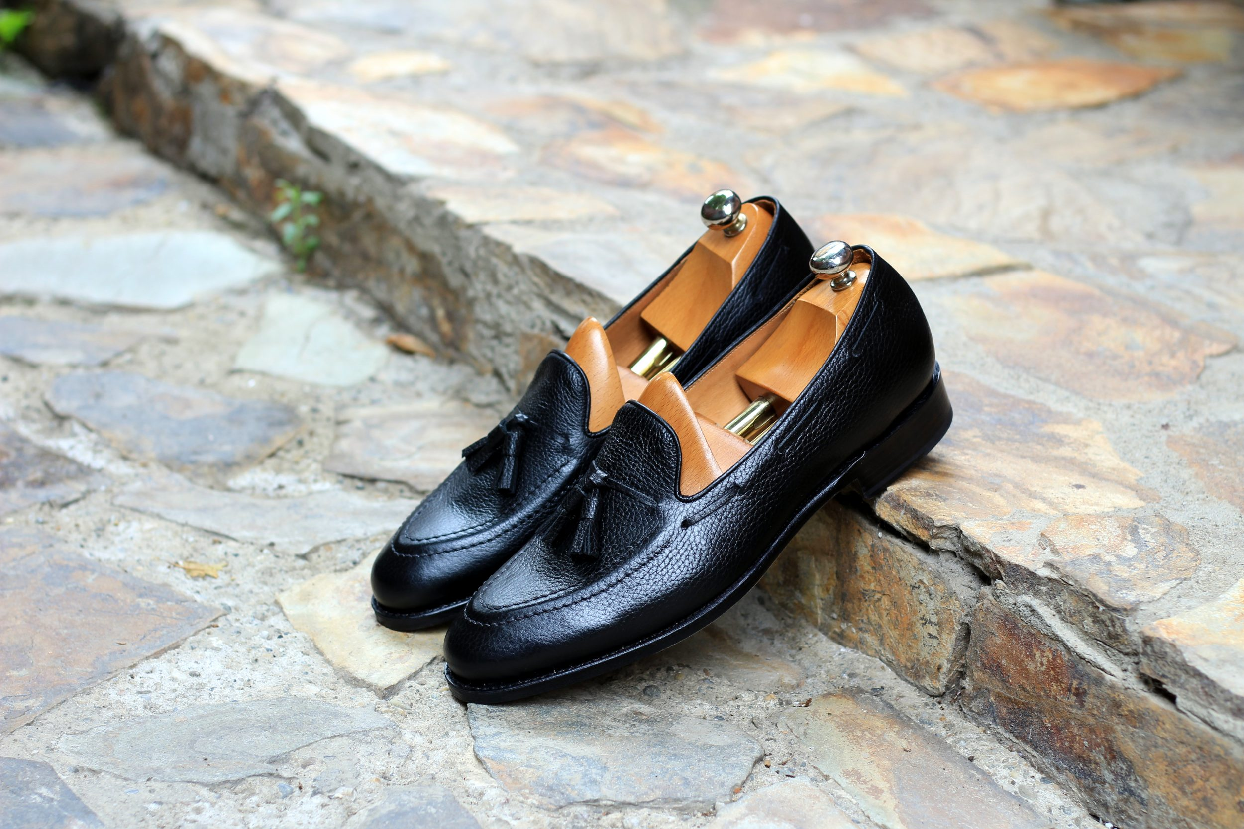 Vlad Alexandru black pebble grain Tassel Loafer