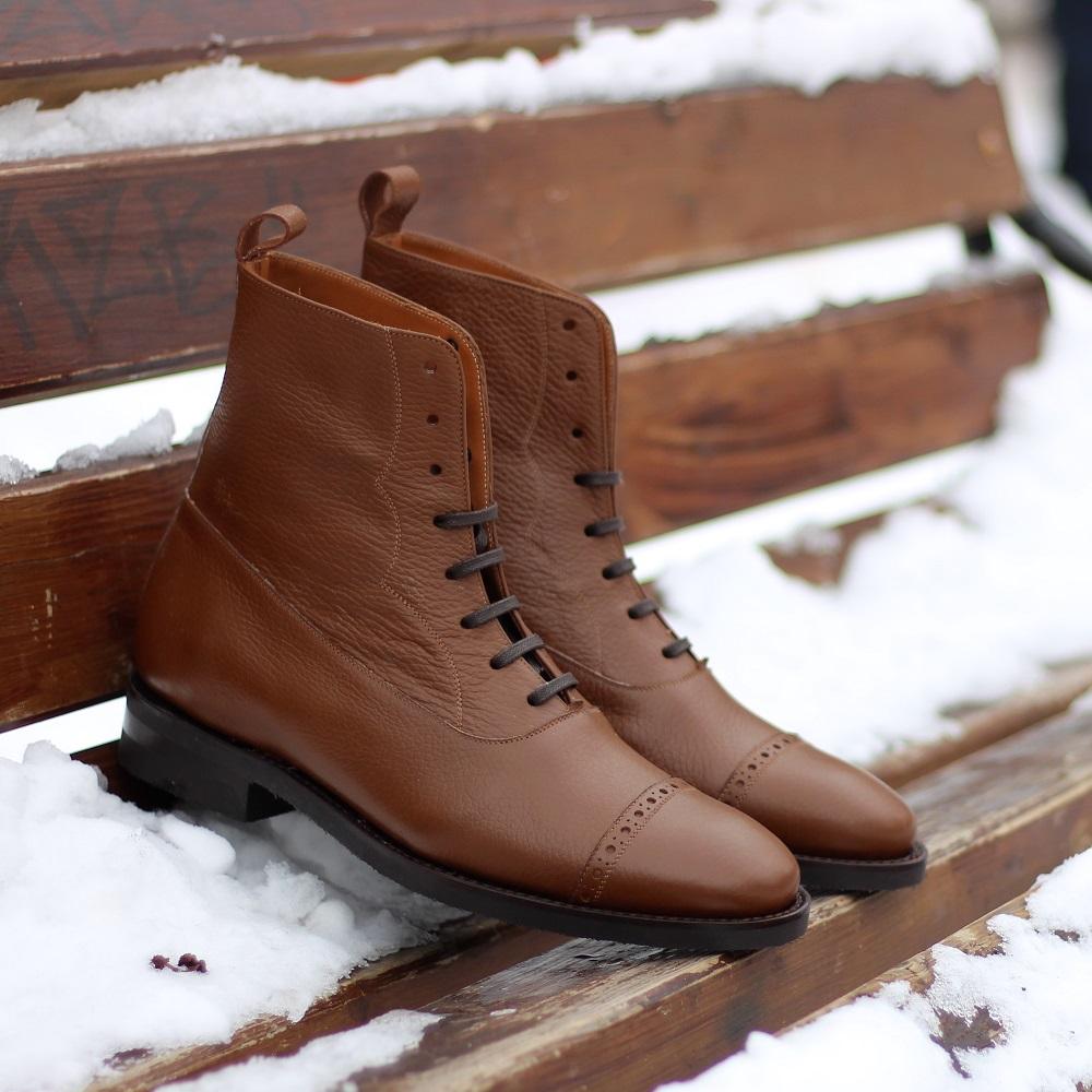 Vlad Alexandru Balmoral Boots Pebble Grain