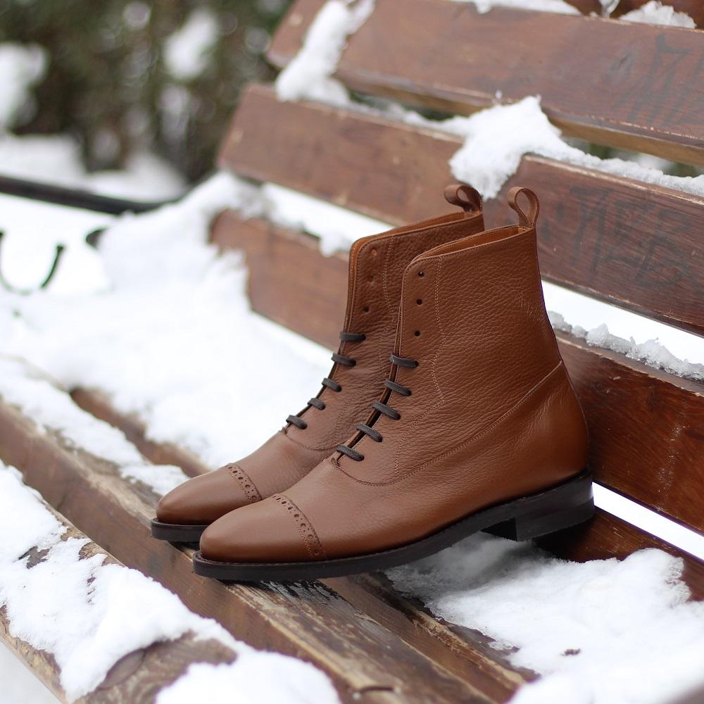 Vlad Alexandru Balmoral Brogue Boots Pebble Grain