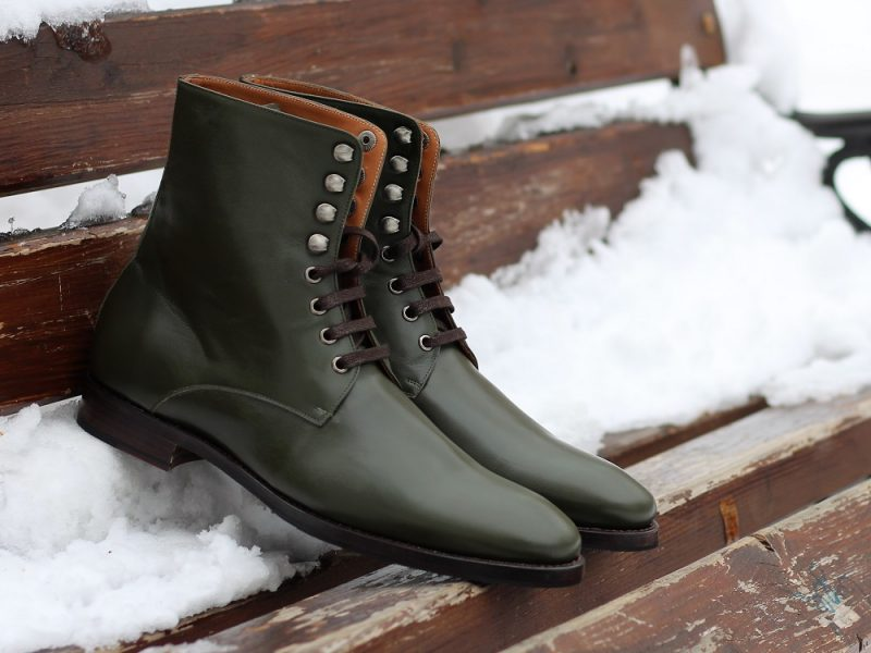 Vlad Alexandru Green Plain Toe Derby Boots