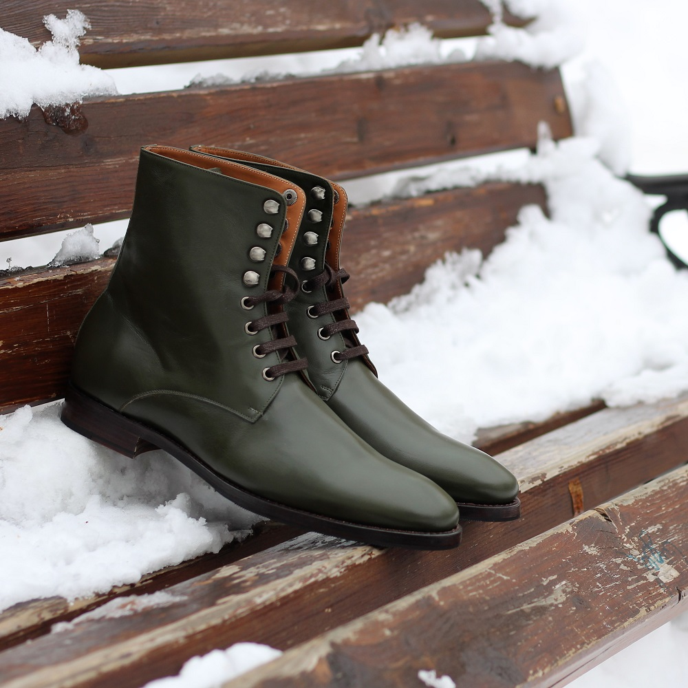 Vlad Alexandru Green Plain Toe Derby Boots
