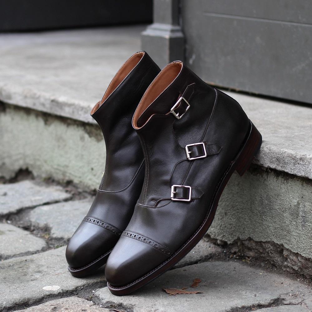 Vlad Alexandru Dark Brown calf Triple Monk Strap Boots