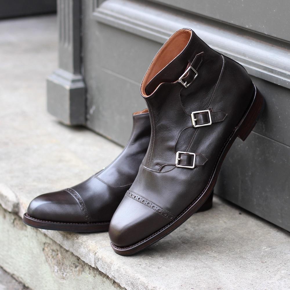 Vlad Alexandru Dark Brown Triple Monk Strap Boots