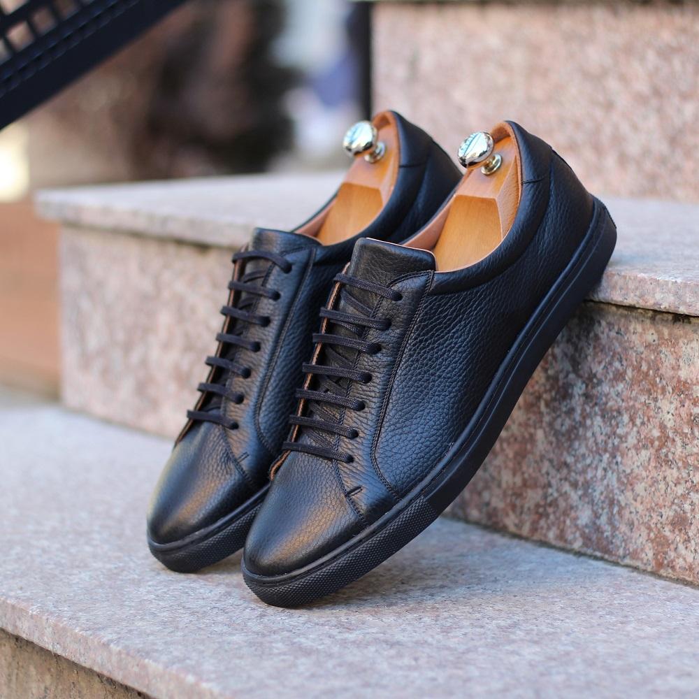 Vlad Alexandru Black Pebble Grain Sneakers