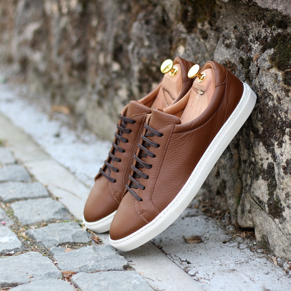 Vlad Alexandru Brown Pebble Grain Sneakers